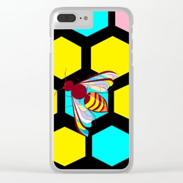 A Black Honeycomb and Bee, Multi-color Natural Clear iPhone Case
