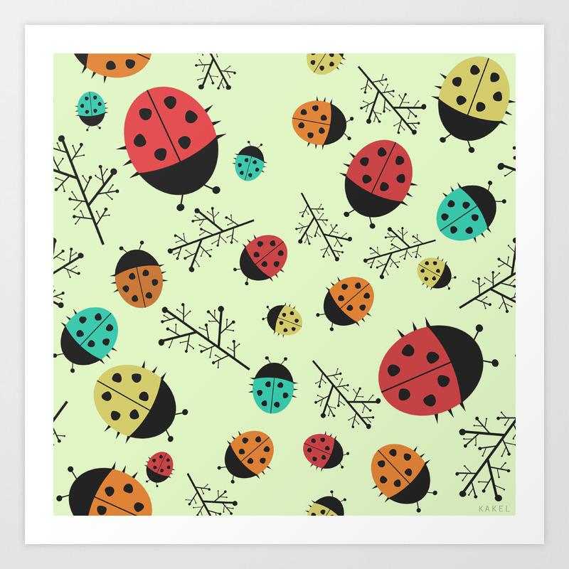 Ladybugs Art Print By Kakel Society6