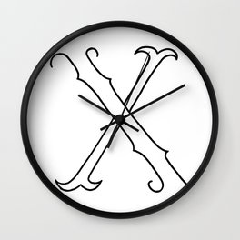 X- Letter Colletion White Wall Clock