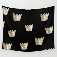 crown Wall Tapestries featuring Crown Pattern by Georgiana Paraschiv