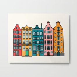 Cartoon old Amsterdam downtown buildings Metal Print