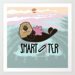 Smart otter Art Print