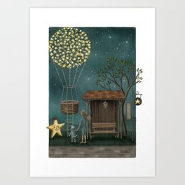 Star Balloon Art Print