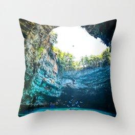 Sea Cave in Greece Throw Pillow
