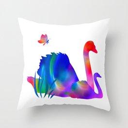 Rainbow swans Throw Pillow