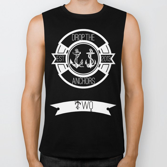 Drop The Anchors Badge Dark Biker Tank
