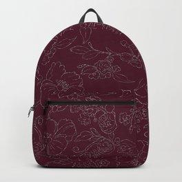 Chic burgundy silver glitter elegant flowers pattern Backpack
