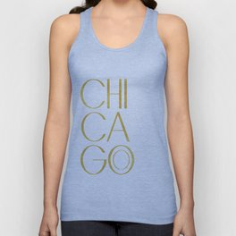 Chicago Print,City Print,Home Decor,Wall artwork,Chicago Poster,Typography Print,Gold Typography,Art Unisex Tank Top