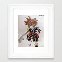 kingdom hearts Framed Art Prints featuring Kingdom Hearts by Juui-Chan