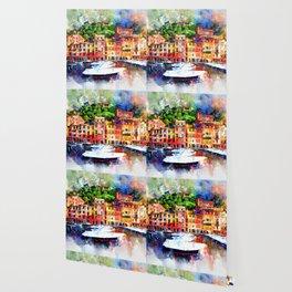 Watercolor painting pier Wallpaper