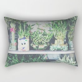 green bamboo plant in the vase pattern background Rectangular Pillow
