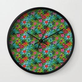 Pattern kitties and flowers Wall Clock
