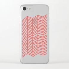 Coral Herringbone Clear iPhone Case