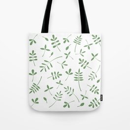 Green Leaves Design on White Tote Bag