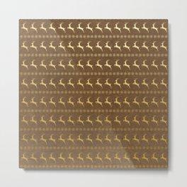 Brown and Metallic Gold Christmas Reindeer Metal Print