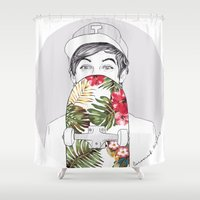 skate Shower Curtains featuring L Skate by Coconut Wishes