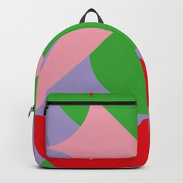 An upside down Pink Butterfly in a green, red and blue beautiful landscape. Green Sun. Backpack