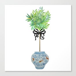 Topiary Topiaries Blue and White Ginger Jar  Canvas Print