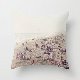 The Huntington Beach Crowd Throw Pillow