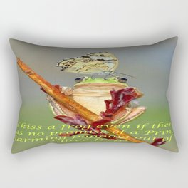 Frog and Butterfly Rectangular Pillow