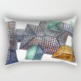 Taiwanese roofscapes 03 Rectangular Pillow