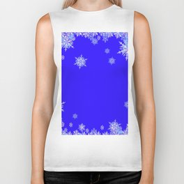 LACEY WHITE SNOWFLAKES HOLIDAY BLUE ART Biker Tank