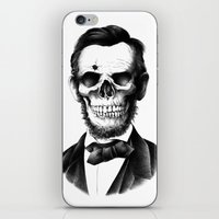 lincoln iPhone & iPod Skins featuring Lincoln Skull by BIOWORKZ