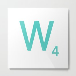 Aqua Letter W Scrabble Wall Art Metal Print