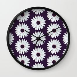 Purple Daisies Pattern Wall Clock