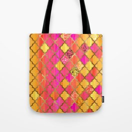 Moroccan Tile Pattern In Pink, Red, Orange, And Gold Tote Bag