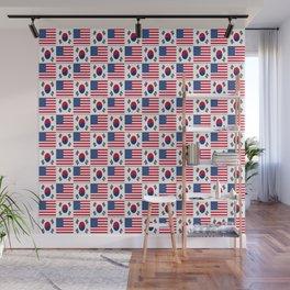 Mix of flag: USA and South Korea Wall Mural
