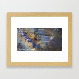 Star map version: The Milky Way and constellations Scorpius, Sagittarius and the star Antares. Framed Art Print
