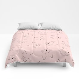 Cute Girly Black Kitty Cat Face Pink Pattern Comforters