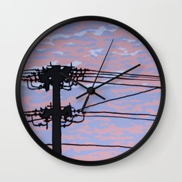 Telephone Pole at Sunset Wall Clock
