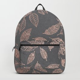 Rose gold hand drawn boho feathers hand drawn grey industrial concrete cement Backpack