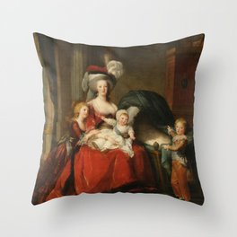 Marie Antoinette and her children by Elisabeth Vigee Le Brun, 1787 Throw Pillow