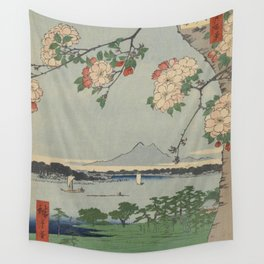 Cherry Blossoms on Spring River Ukiyo-e Japanese Art Wall Tapestry