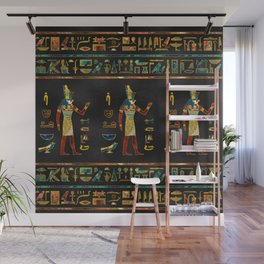 Egyptian  Gold, Teal and Red  glass pattern Wall Mural
