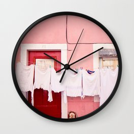 Pink House in Lisbon Wall Clock