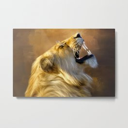 Roaring lion portrait Metal Print