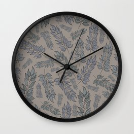Grey green blue muted leaf pattern Wall Clock
