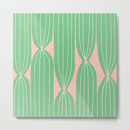 Cactus Stripe pattern in green and pink Metal Print