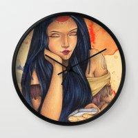 pocahontas Wall Clocks featuring Pocahontas by Bárbara  Kramer