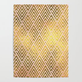 Gold foil triangles on pink - Elegant and luxury triangle pattern Poster