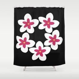 Pink Plumeria Lei (Black) Shower Curtain