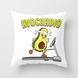 Avocardio Avocado Cardio Pun Running Exercise Gym Throw Pillow