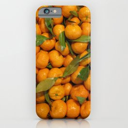 Orange mandarins with green leaves iPhone Case