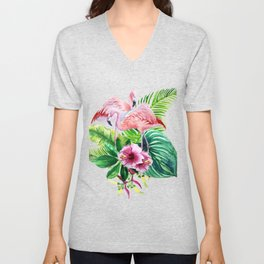 Tropical leaves and pink flamingo Unisex V-Neck