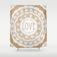 all you need is love Shower Curtains featuring All You Need is Love by Jenndalyn