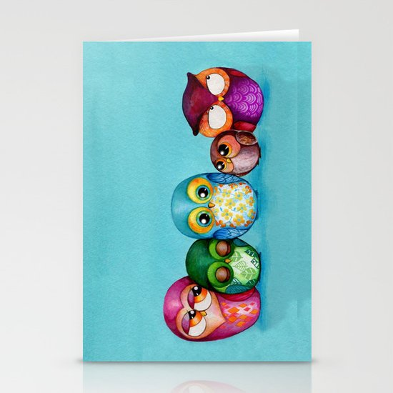 Fabric Owl Family Stationery Cards